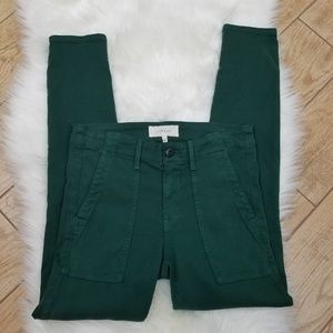THE GREAT. Green Cord Skinny Jeans
